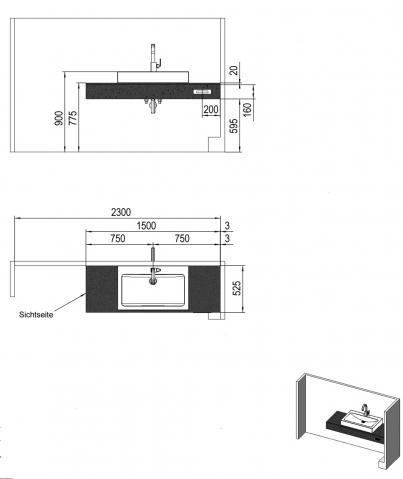 platte f r ein aufsatzwaschbecken an einem vorwandelement. Black Bedroom Furniture Sets. Home Design Ideas