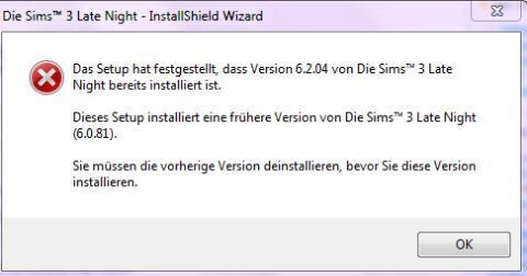 Sims 3 problem mit late night es lässt sich nicht installieren