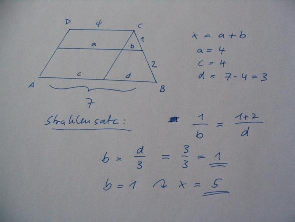 im trapez eine strecke mit strahlensatz berechnen schule geometrie mathe. Black Bedroom Furniture Sets. Home Design Ideas