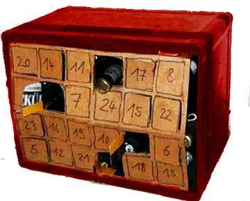 kann ein bierkasten mit 24 numerierten flaschen basteln. Black Bedroom Furniture Sets. Home Design Ideas