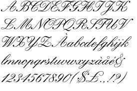 Schnörkelige schrift zeichen alphabet schriftart