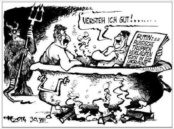 Deutung Karikatur (Interpretation, Ukraine-Krise)