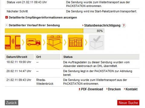 dhl sendungsverfolgung steht bei 80 versandstatus packetdienst. Black Bedroom Furniture Sets. Home Design Ideas