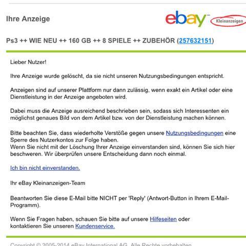 ebay kleinanzeigen meine anzeige wurde gel scht warum ps3 verkauf ankauf. Black Bedroom Furniture Sets. Home Design Ideas