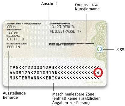 Frage zu dem dt. Personalausweis?! (Deutschland, Code, Zahlen)