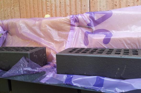 klinkern bei regen schutz der glaswolle wie bau. Black Bedroom Furniture Sets. Home Design Ideas