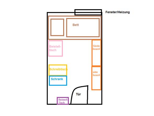 Schmales Wohnzimmer Einrichten Dunkler Holzboden Grau Moebel Bett ...