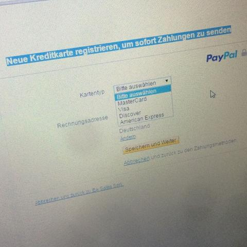 paypal kreditkarte registrieren