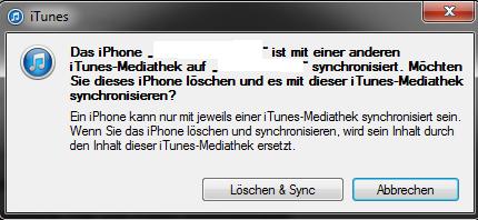 Musik auf iphone laden itunes ist noch mit altem pc verbunden