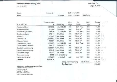 Nebenkostenabrechnung wartung heizung umlageschlüssel