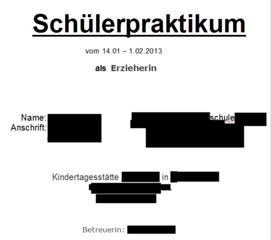 Praktikumsmappe (Deckblatt) (Schule, Beruf, Praktikum)