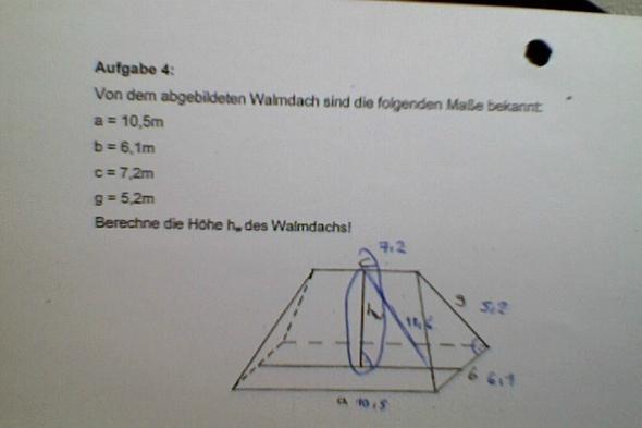 satz des pythagoras wie rechnet man die h he schule rechnen mathe. Black Bedroom Furniture Sets. Home Design Ideas