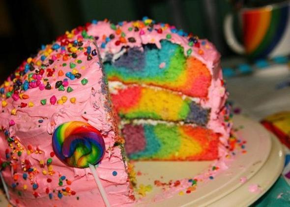 Wie backe ich diesen Regenbogen kuchen ?