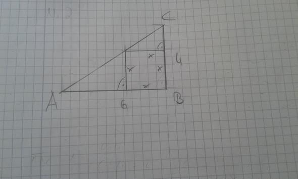 wie berechne ich ein quadrat in einem dreieck ihre seiten l nge berechnen mathe. Black Bedroom Furniture Sets. Home Design Ideas