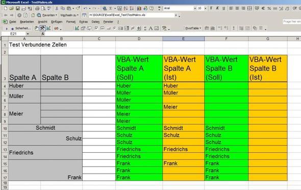 Wie ermittelt man in Excel (VBA) den Zelleninhalt bei verbundenen ...