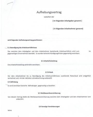 aufhebungsvertrag mit abfindung