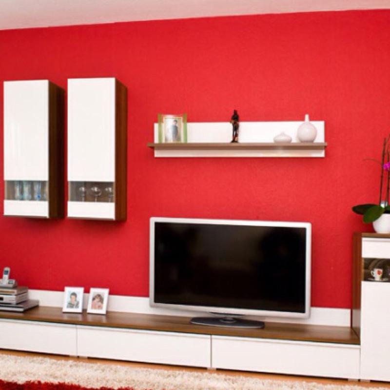 Wohnzimmer creme rot