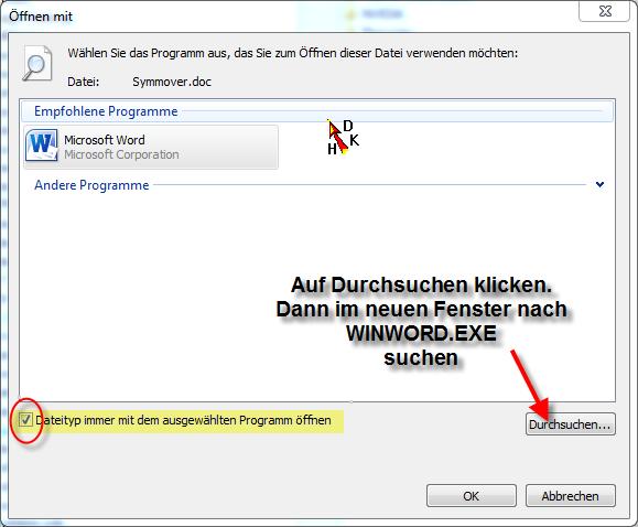 Datei einem Programm zuordnen - (Microsoft, Fehlermeldung, Word)