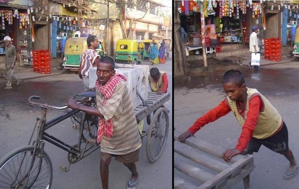 Junge hilft seinem Vater beim Transport - (Freizeit, Kinderarbeit, Boykott)