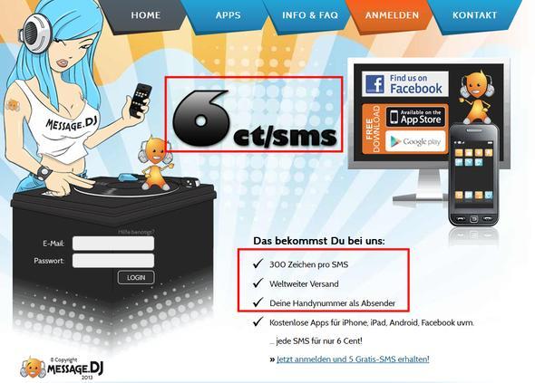 message.dj Screenshot - (Kosten, Ausland, SMS)