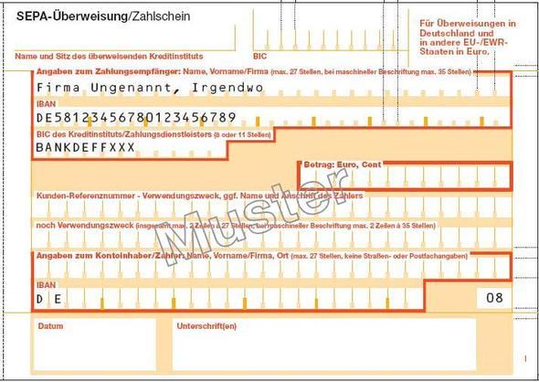 SEPA-Zahlscheinvordruck im EPS/Postscript-Format (Bank, überweisung ...