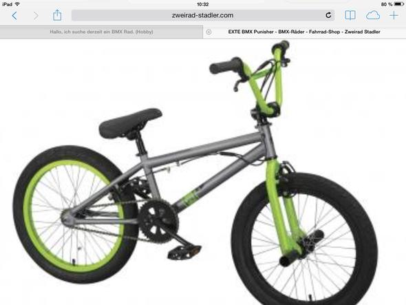 Das punisher Rad mit 20,5 Oberrohr in grün  - (Hobby, BMX)
