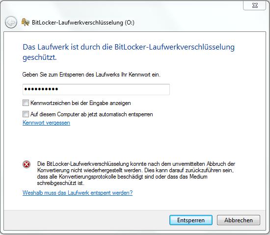 "Problem ""Bitlocker"" - (Windows 7, Microsoft)"
