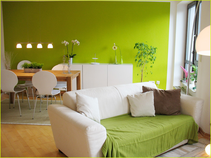 Wohnzimmer Wandgestaltung Grün