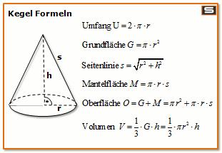 Kegel mantel berechnen formel