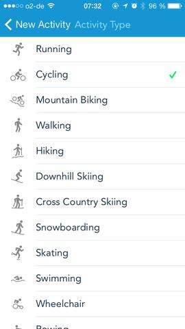 Die von RunKeeper unterstützten Sportarten - (Technik, iPhone, Smartphone)