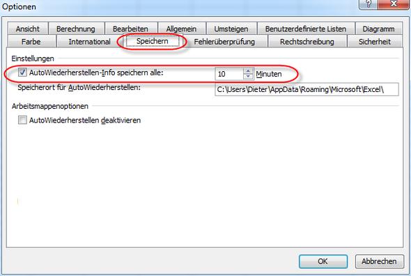 Autowiederherstellen - (PC, Excel)