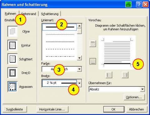 Linie einstellen (Word 2000 und 2003) - (Computer, Ratgeber, Word)