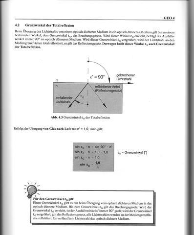 Grenzwinkel mit Erläuterung - (Physik, totalreflexion)