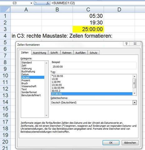 Uhrzeit über 24 std - (Excel, arbeitszeiten, Tabellenkalkulation)