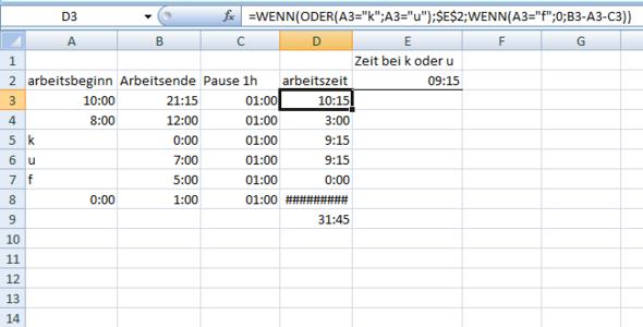 arbeitsplan - (Excel, excel-formel, Arbeitsplanung)