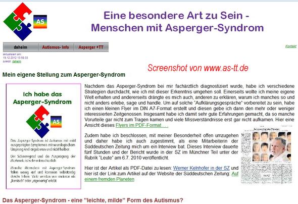 Screenshot meiner Website www.as-tt.de  - (Autismus, asperger-syndrom)