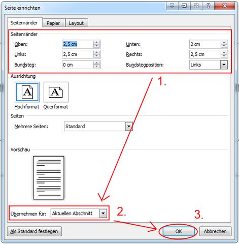 Seitenrand Nur Für Eine Seite ändern Computer Microsoft Word
