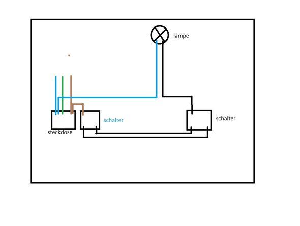 zwei wechselschalter ber steckdose und lampe verbinden 8 dr hte sind vorhanden elektrik. Black Bedroom Furniture Sets. Home Design Ideas