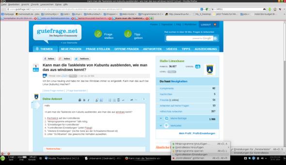KDE Kontrollleiste Einstellungen 01 - (Linux, kubuntu)