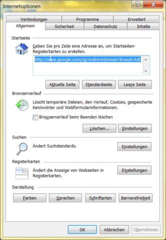 Startseite im Internet Explorer auswählen - (Windows, Explorer, Startseite)