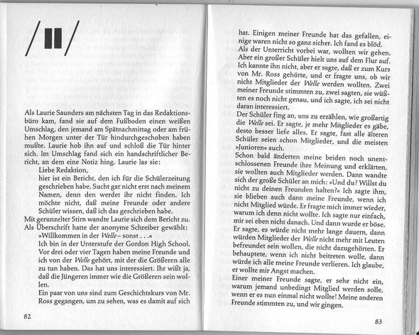 Textausschnitt aus: Die Welle - (Schule, deutsch, Buch)