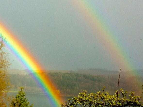 Regenbogen mit Spigelung - (Freizeit, Garten, Wetter)