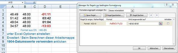rot wenn minusZeit - (Zeit, Excel, Formel)