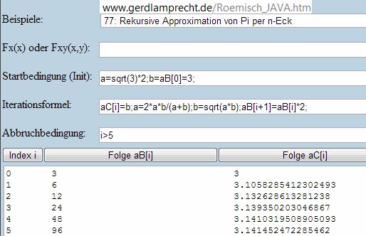Archimedes n-Eck iterativ - (Mathe, Mathematik, Geometrie)