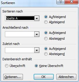 Spalten sortieren Excel 2003 - (Excel, Tabelle, Nachname)