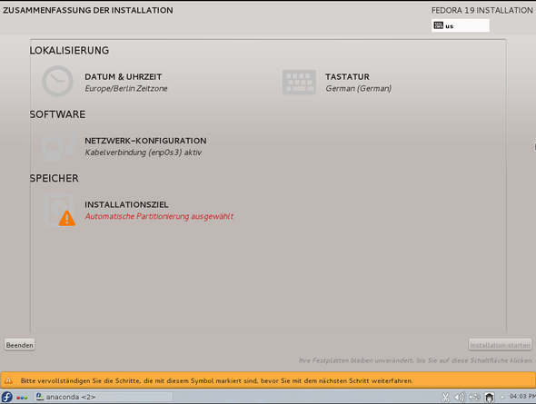 Fedora 19 Installation 00 - (Betriebssystem, Linux, Partition)