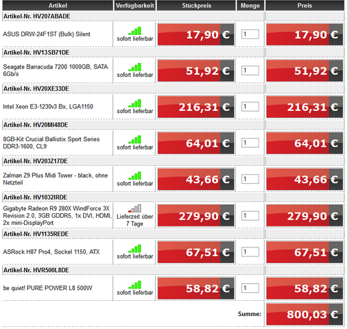 800€ PC - (PC, Gaming)