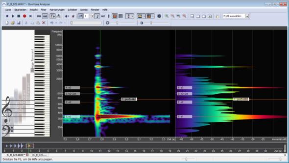 Klangspektrum Xylophon, Ton e1. (Overtone Analyzer) - (Musik, Stimmung, Xylophon)