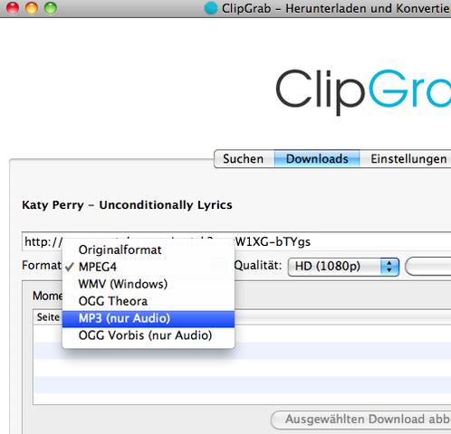 ClipGrab DL-Format ändern - (Computer, Musik, downloaden)