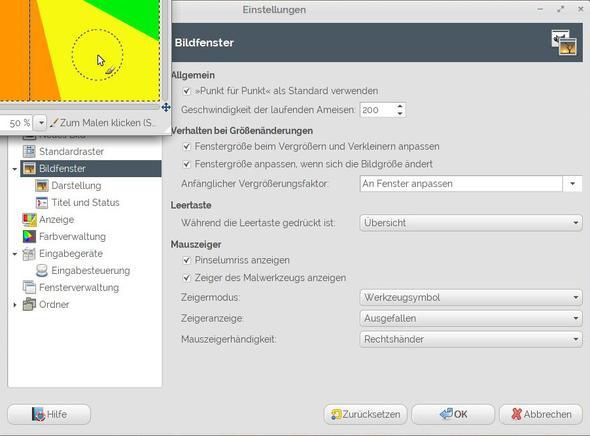 Gimp: Mauszeiger-Einstellungen - (Computer, Bildbearbeitung, Gimp)
